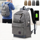 Unisex Fashion USB Charge 15/17 inch Laptop Notebook Computer Backpack Bag for Walking Travelling Khaki
