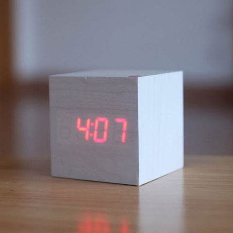Voice Control Cube Digital Alarm Clock w/ Thermometer Calendar White Wood & Red LED