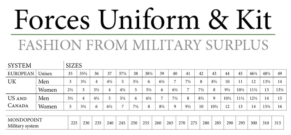 Shoe Size Conversion Chart Forces Uniform And Kit