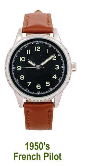 Men's Watch – 1950's French Pilot style quartz watch - New in pack