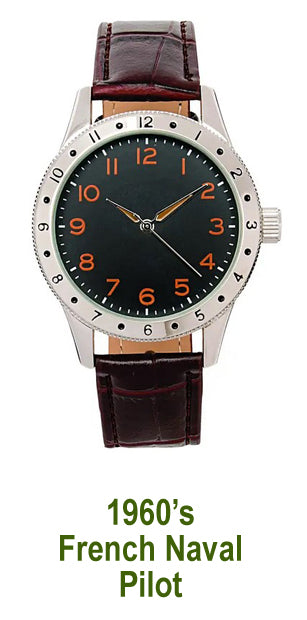 Men's Watch – 1960's French Naval Pilot style quartz watch - New in pack - #36
