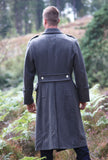 Grey Wool Full Length Greatcoat - Austrian Army Surplus - Back