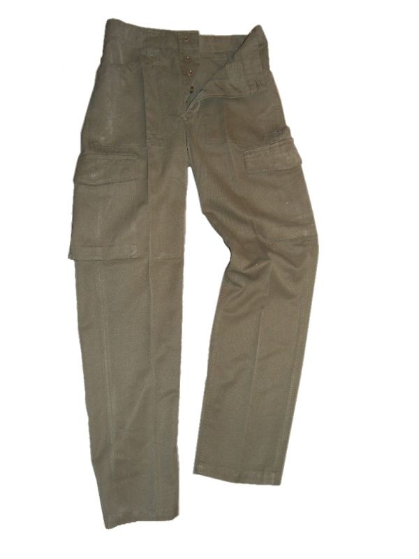 Austrian Olive Green Combat Trousers - button fly