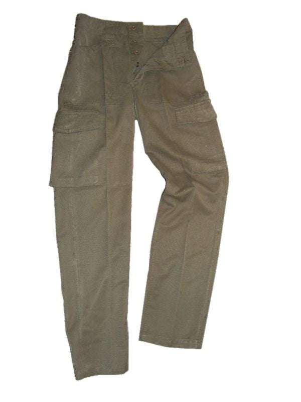 Austrian Olive Green Combat Trousers - button fly - DISTRESSED RANGE