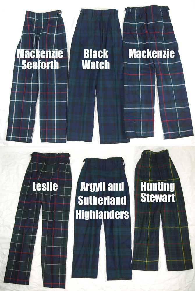British Tartan Trews - Scottish Regimental Trousers (100% Wool)