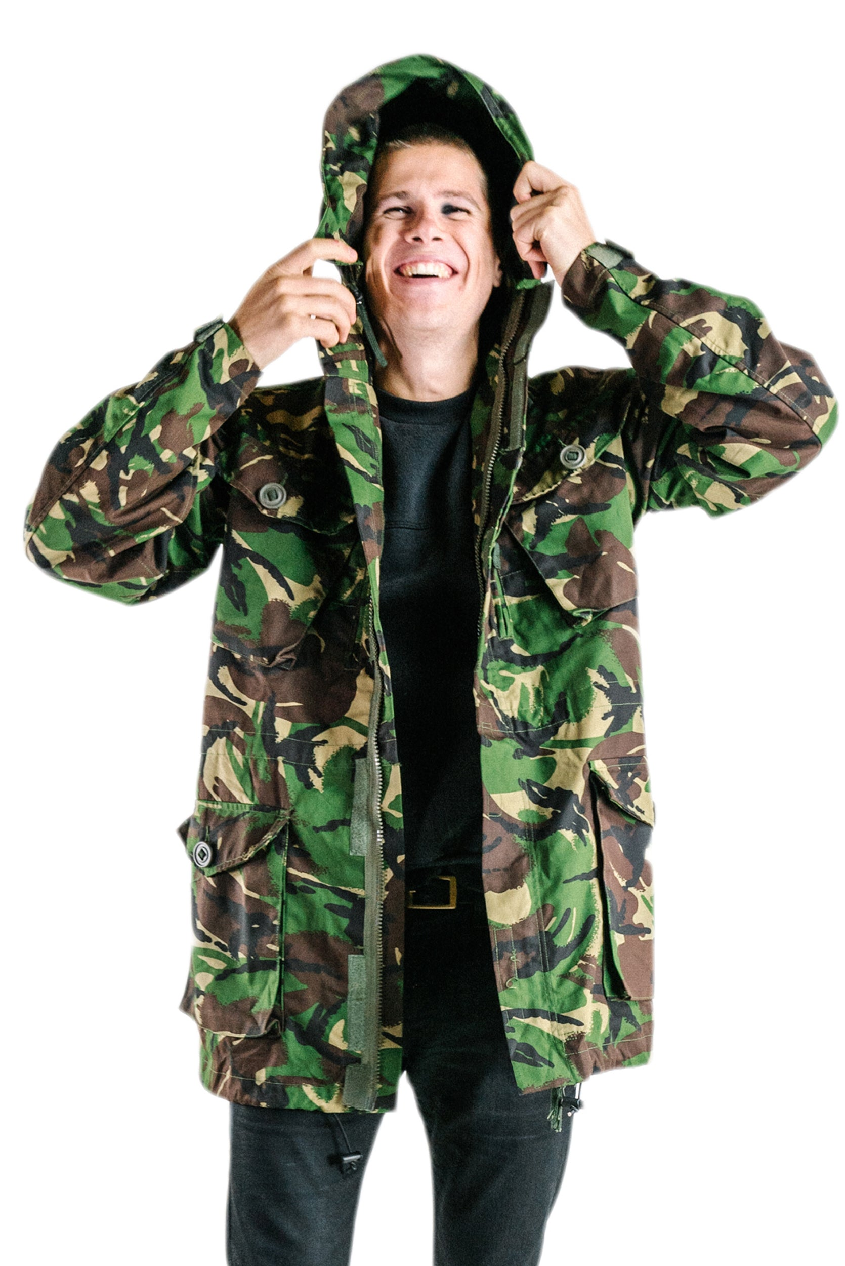 New Womens Army Military Style Jacket Distressed Green Camouflage Short Coat