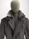 Bulgarian Grey Wool Greatcoat with dark or light grey Fur Collar - Soviet era