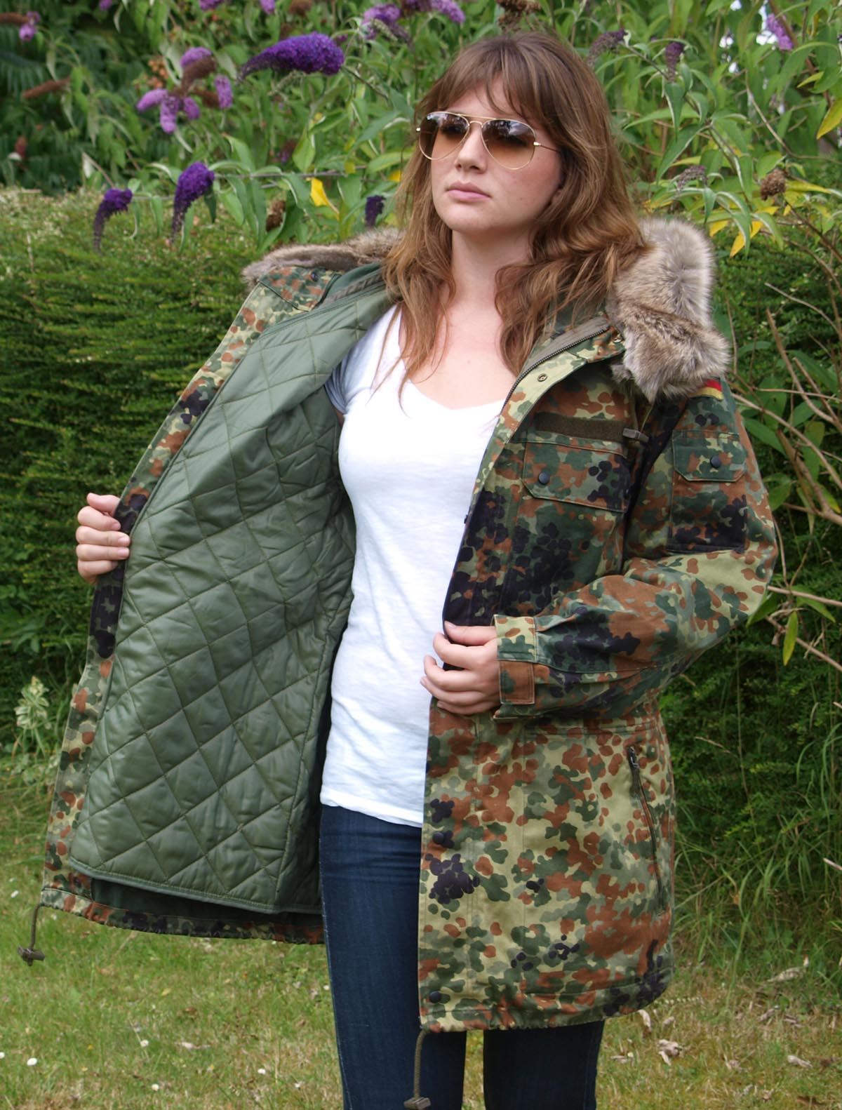 Vintage German Fur-Trimmed Flecktarn Camo Parka Jacket