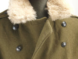 Romanian Military Vintage Wool Greatcoat with fur collar