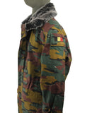 Belgian Army Jacket with Silver Fox faux-fur collar - Jigsaw Camouflage
