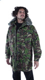 Vintage British Camo Mens Parka Windproof Jacket with fur-trimmed hood