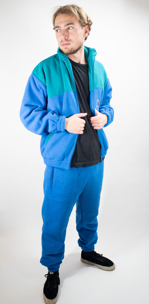 French Army Two-tone Blue Fleece Track Suit - unissued