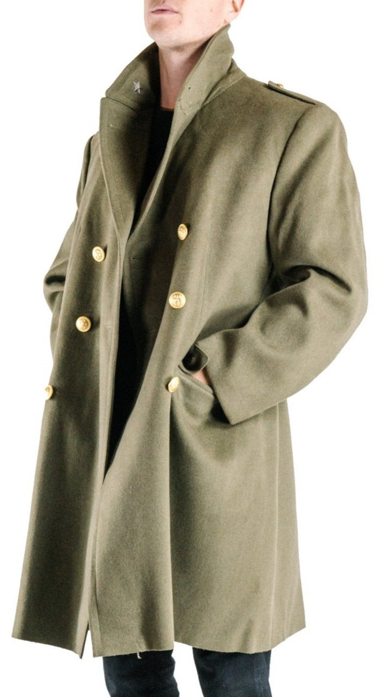 Italian Army Khaki Wool Greatcoat - brass buttons