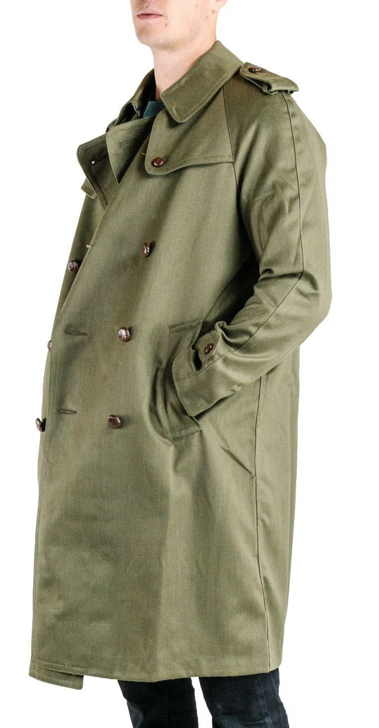 Spanish Olive Green Military Style Trench Coat – Full Length – unissued