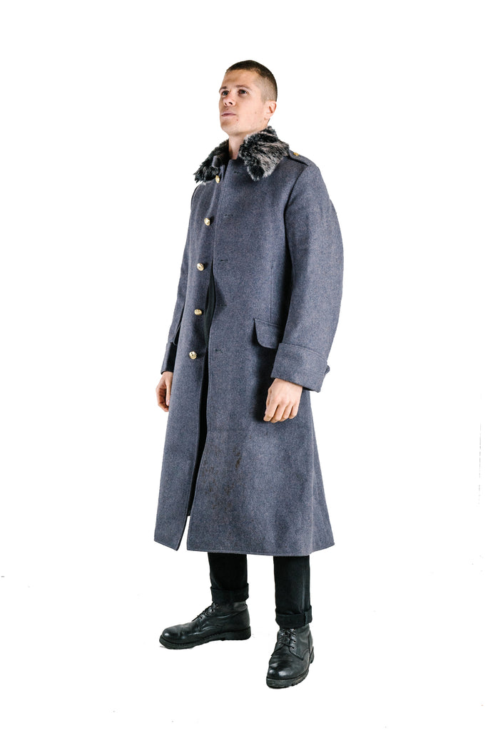 British Army Guards Greatcoat - Grey Wool - with fur collar