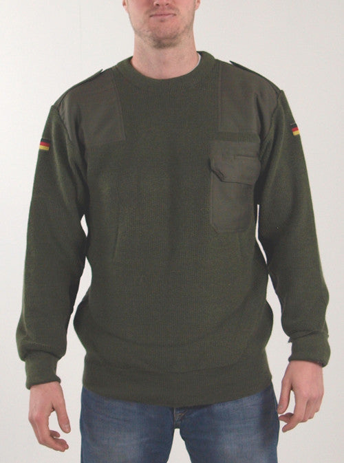 Olive Green Wool Combat Jumper - Genuine German Army Surplus