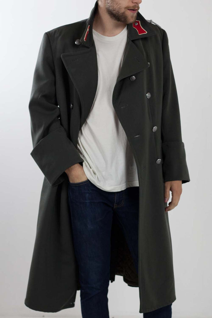 Austrian Grey Military Trench Coat - Mens