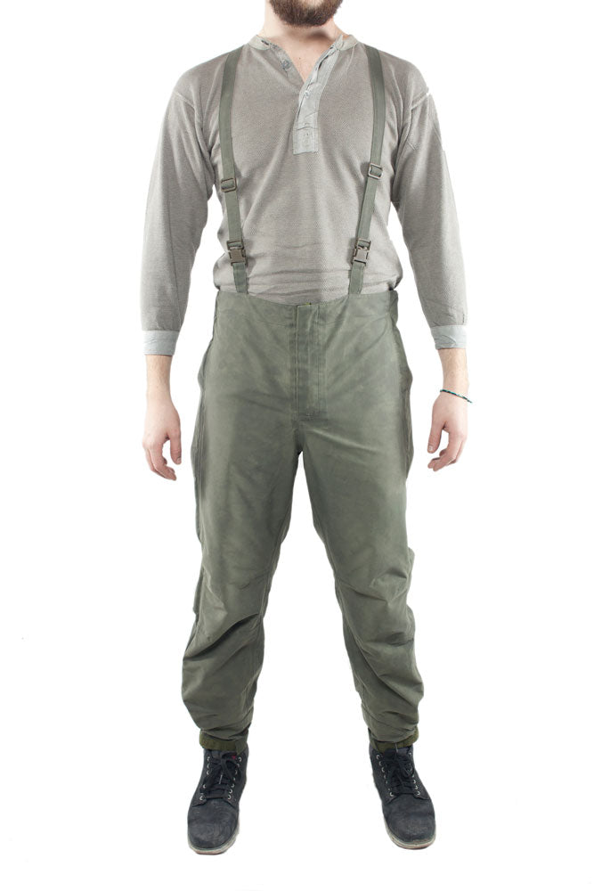 Austrian army Lined goretex over trousers pants waterproof olive cargo rain wet