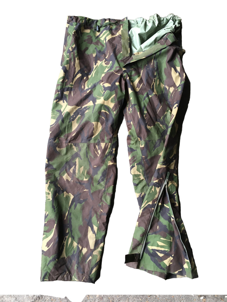 British Army Gore-Tex Trousers - Woodland DPM Camo - zipped dart ankle - DISTRESSED RANGE