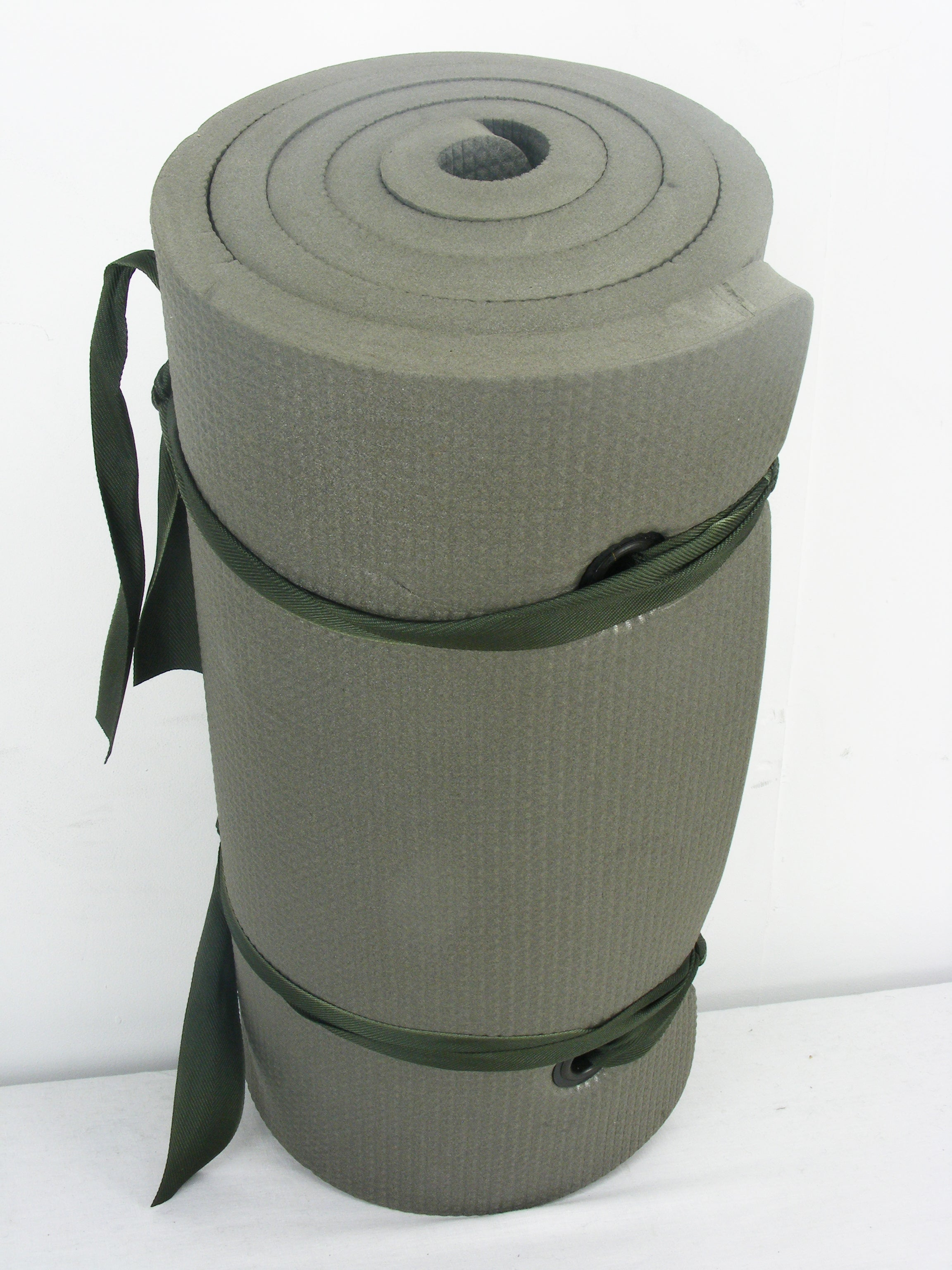 Dutch thick military rolled sleep mat with Woodland camo carry bag