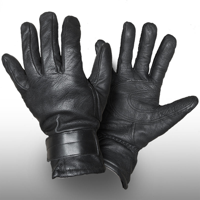 Austrian Military Black Leather Gloves - Wool Lined