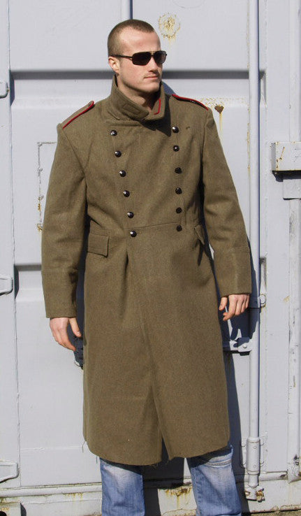 Mens Bulgarian Military Khaki Wool Greatcoat – Soviet era