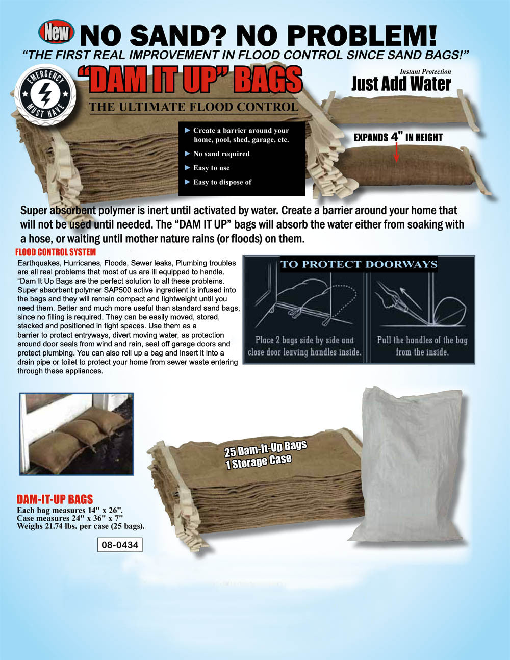 Home Flood Defence Kit - Water Activated Sand Bags