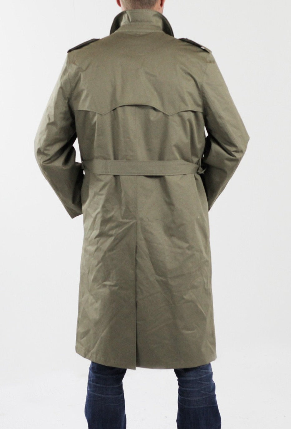 dutch khaki mens military trench coat full length new. Black Bedroom Furniture Sets. Home Design Ideas