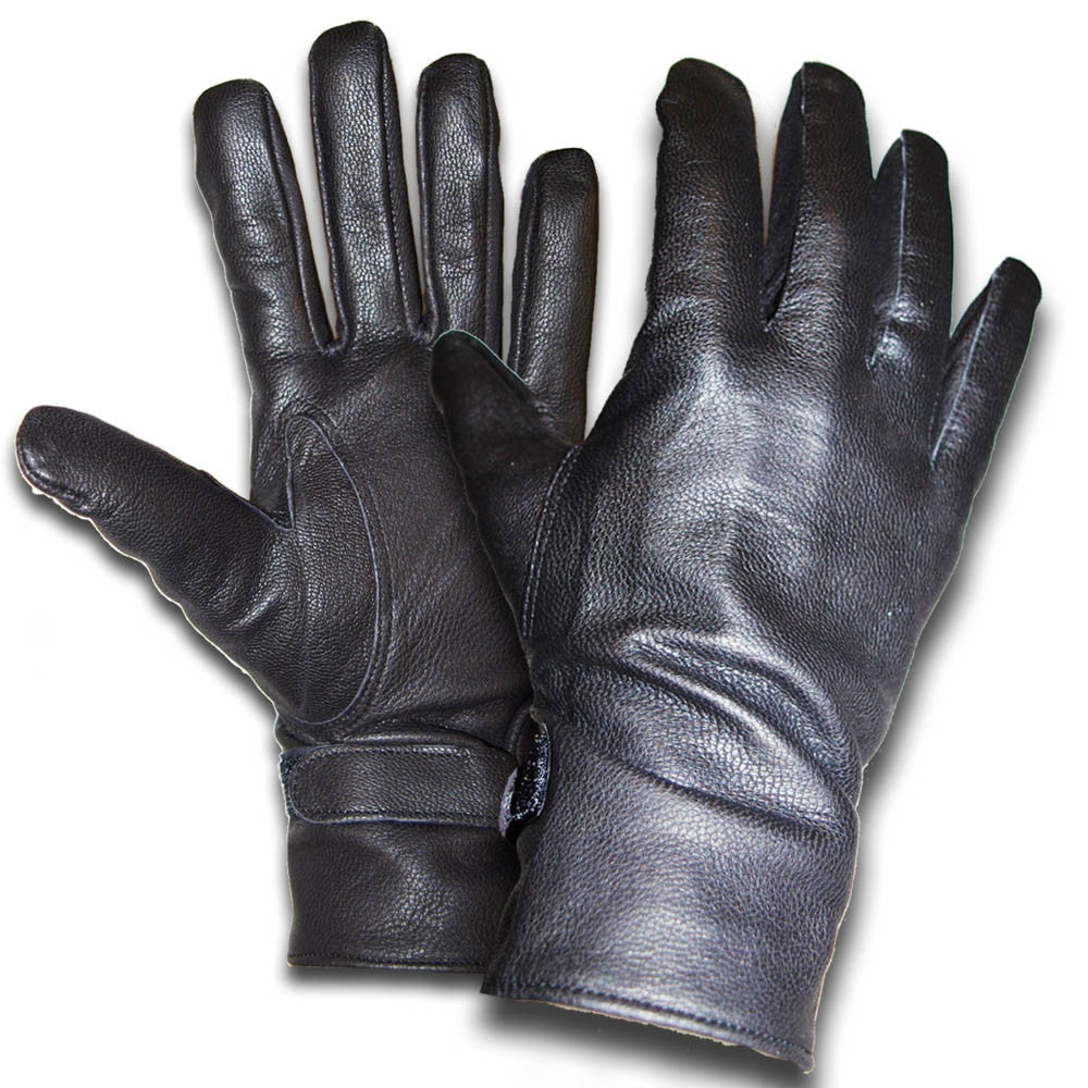 French Military Black Leather Gloves