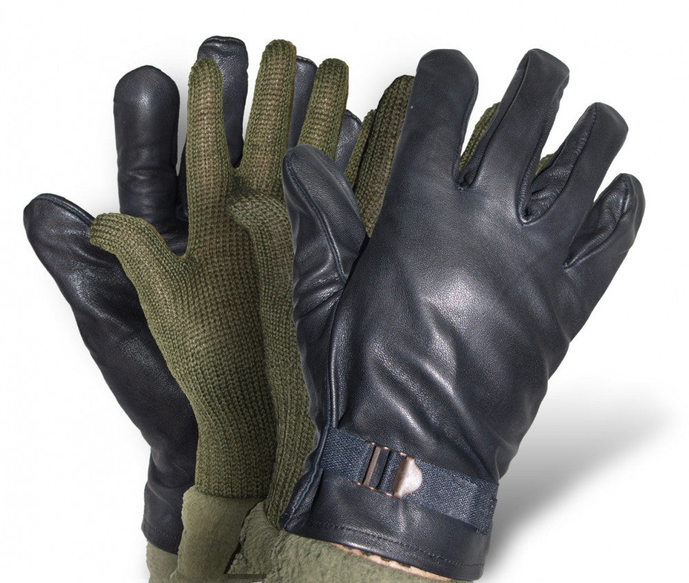 Italian Military Black Leather Gloves set - with wool inners