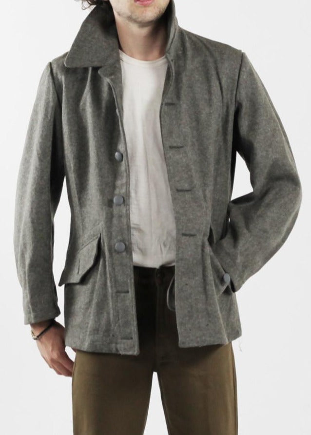 Vintage Grey Wool Jacket For Men