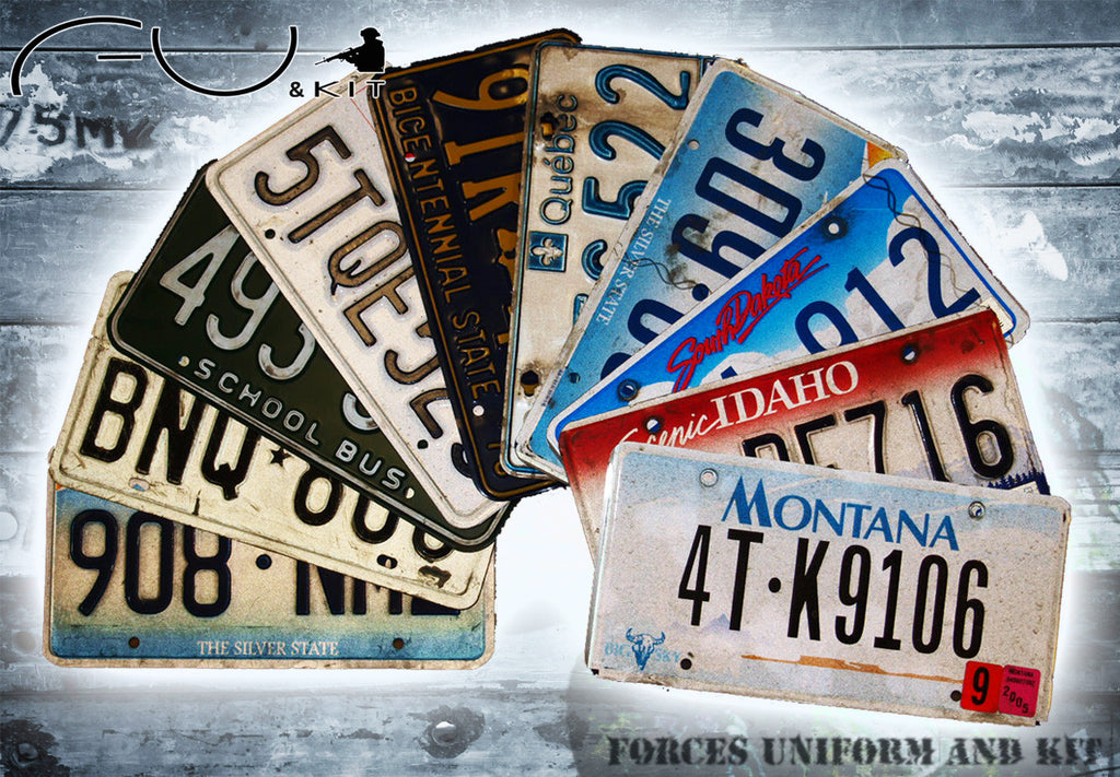 US State Registration/Number Plates x 5