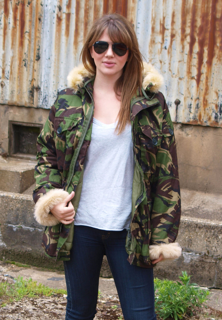 Vintage Fur Trimmed British Camo Parka Jacket