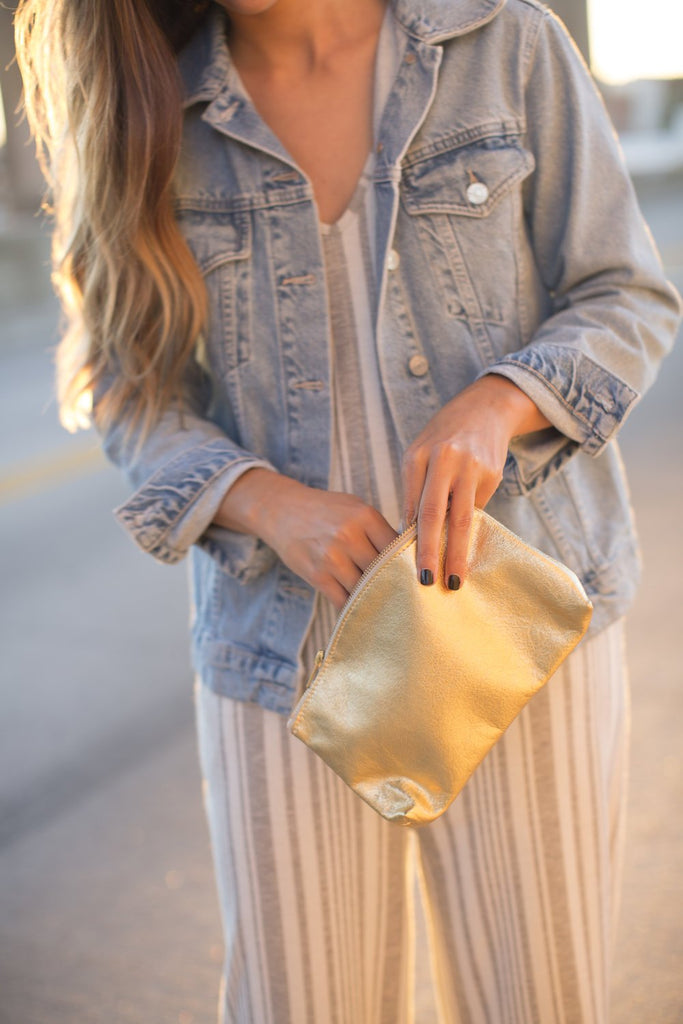 Leather Short Clutch