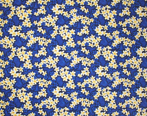 AW-001 Royal - TrendtexFabrics Clusterd plumeria (Frangipani) layered over tonal clusters.