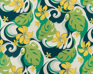 CA-009 Lime (Polyester/Spandex Knit) - TrendtexFabrics Stylized Plumeria and Monstera Leaves