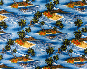 CC-003R Blue - TrendtexFabrics Scenic Beach and Palm Trees