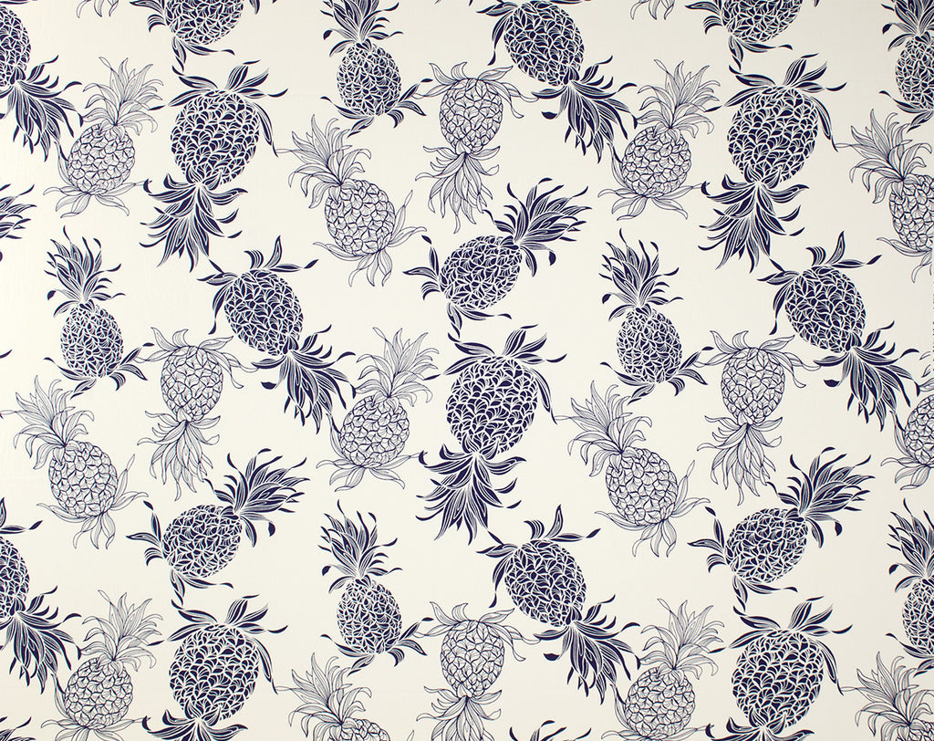 CT-007 Cream/Navy (Cotton Twill) - TrendtexFabricsPineapple Pattern