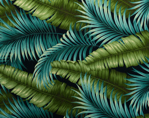 FQ-014 Navy - TrendtexFabrics Banana Leaves and Palm Leaves
