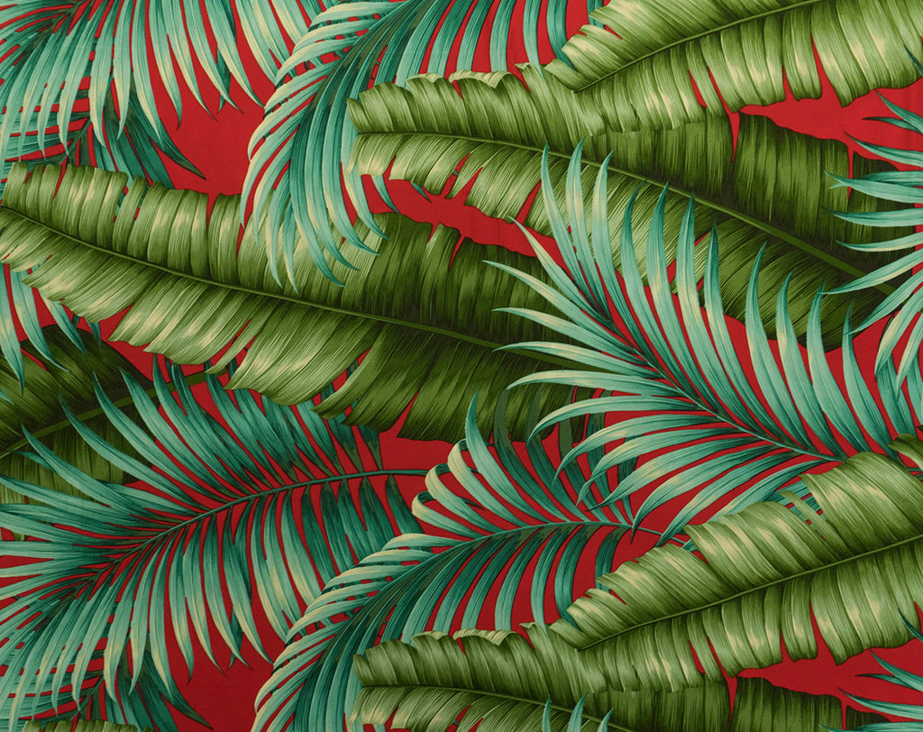 FQ-014 Red - TrendtexFabrics Banana Leaves and Palm Leaves