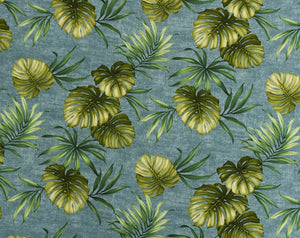FR-005 Blue - TrendtexFabrics Monstera and Palm Leaves All-Over