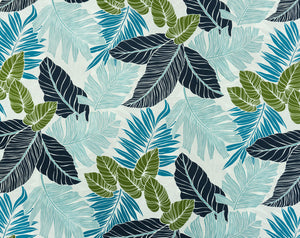 FS-006 Blue - TrendtexFabrics Monstera and Palm Leaves All-Over