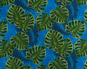 FS-010 Blue - TrendtexFabrics Monstera Leaves with Palm Leaf Silhouettes