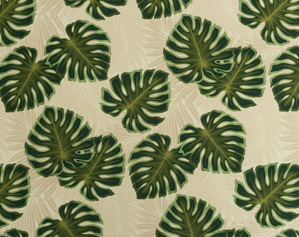FS-010 Cream - TrendtexFabrics Monstera Leaves with Palm Leaf Silhouettes