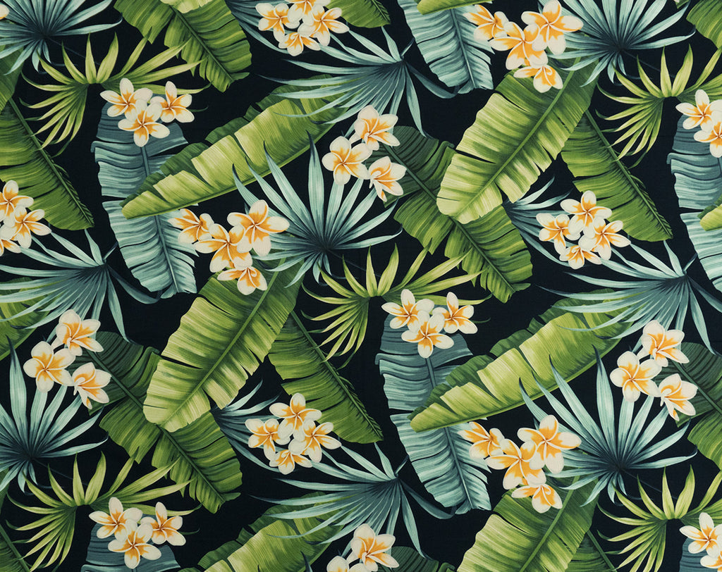 FT-011 Navy - TrendtexFabricsBanana Leaves, Plumeria Flowers, and Palm Fronds