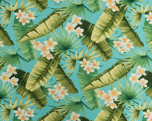 FT-011 Turq - TrendtexFabricsBanana Leaves, Plumeria Flowers, and Palm Fronds