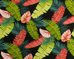 FV-013 Black - TrendtexFabrics Banana Leaves & Kalo Leaves with Palm Fronds