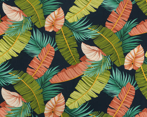 FV-013 Navy - TrendtexFabrics Banana Leaves & Kalo Leaves with Palm Fronds