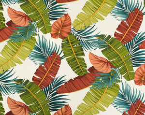 FV-013 White - TrendtexFabrics Banana Leaves & Kalo Leaves with Palm Fronds