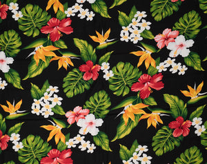 GD-003 Black - TrendtexFabricsBird of Paradise, Hibiscus, Plumeria and Monstera Leaves